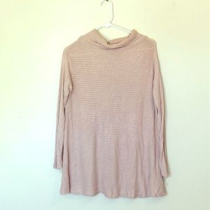 LIGHT PINK STRIPED FREE PEOPLE SWEATER